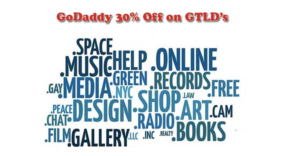 Godaddy 30% Off on GTLD