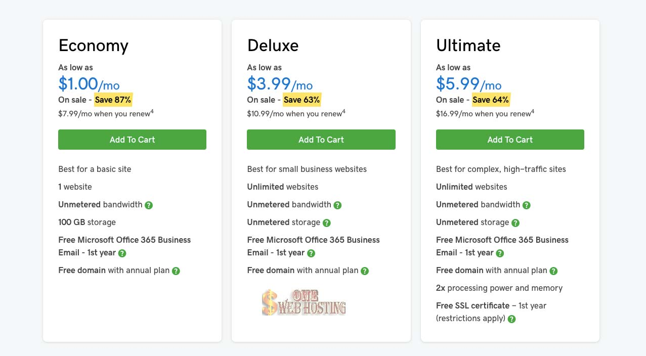 $1 Hosting Features