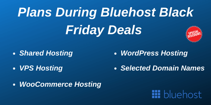 Plans During Bluehost Black Friday Sale