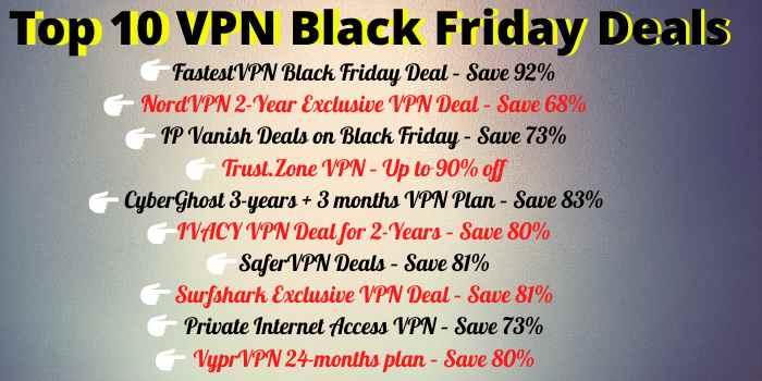 Top 10 Black Friday VPN Deals 2020